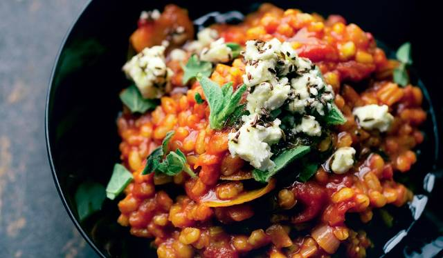 Barley-Risotto-With-Marinated-Chicken